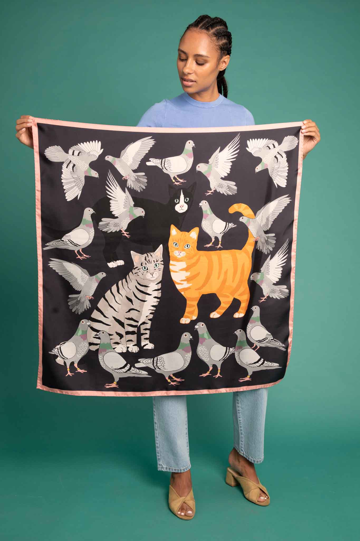 Cat Amongst The Pigeons Silk Scarf