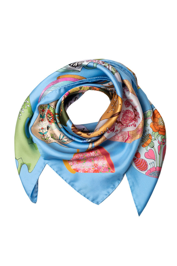 Ceramics Silk Scarf | Blue