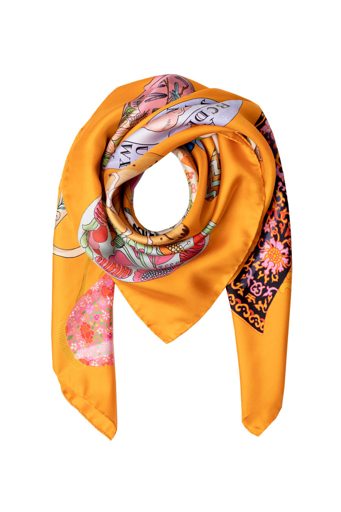 Ceramics Silk Scarf | Orange