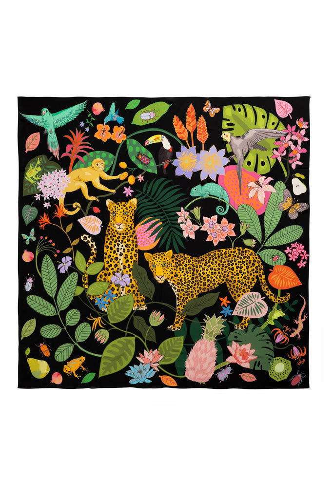 Karen Mabon maximalist silk scarf printed with rainforest  illustration, featuring leopards, monkeys and animals