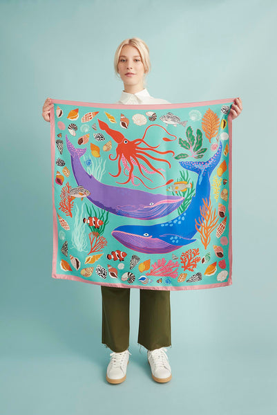 The Squid And The Whale silk scarf (aqua)