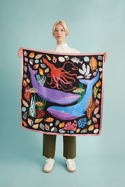 The Squid And The Whale silk scarf