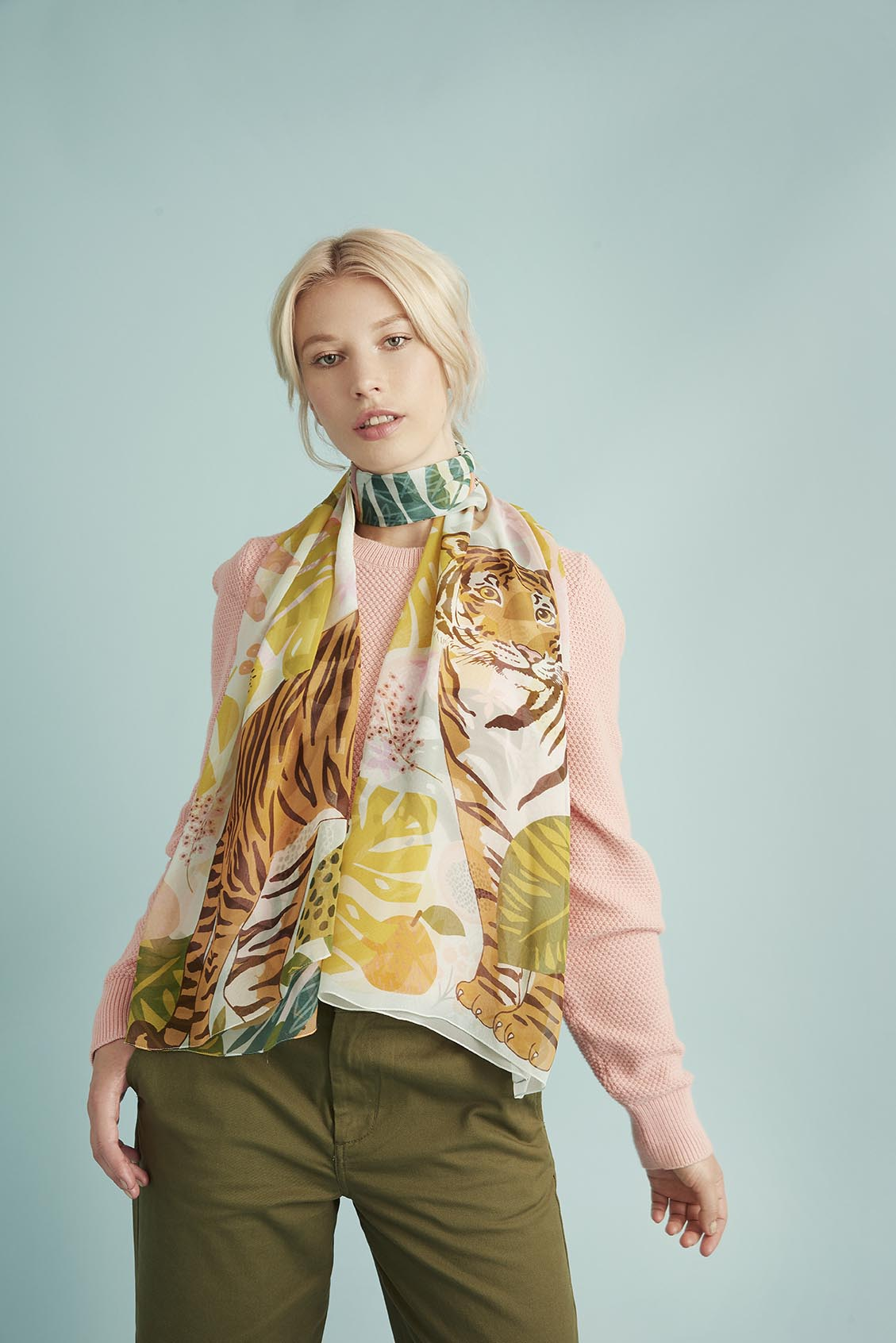 Tutti Fruitti Silk Scarf (Available in black & sapphire)