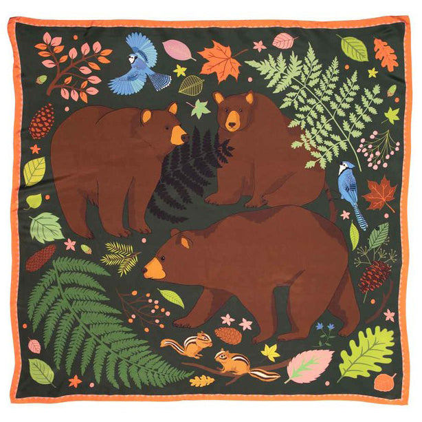 Silk Scarf with dark green background, three large bears, birds, foliage and squirrels.