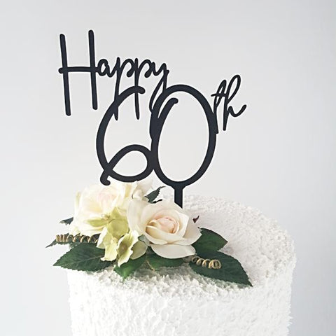 Happy 60th Acrylic Cake  Topper