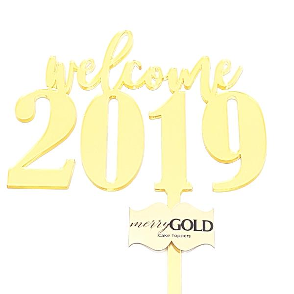 welcome 2019 Merry Gold Cake Topper