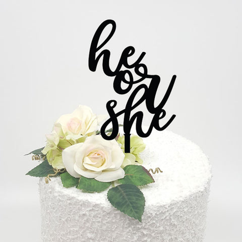 He or She Acrylic Cake topper
