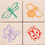 Little Bugs Wood Mounted Rubber Stamp