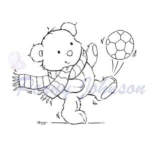 Football Bear Clear Stamps STAMPAVIE