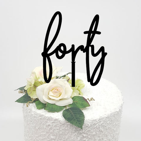 Forty Acrylic Cake Topper