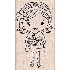 Girl with Gift Wood Mounted Rubber Stamp