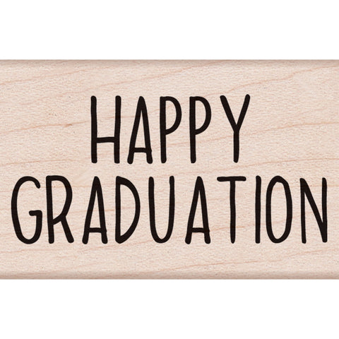 Happy Graduation Message Wood Mounted Rubber Stamp