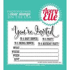 Avery Elle You're Invited Clear Stamps