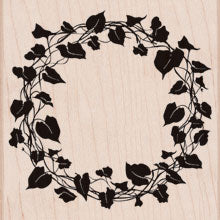 Ivy Wreath Wood Mounted Rubber Stamp