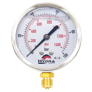 "Hydra Part 100mm Glycerine Hydraulic Pressure Gauge 0-1400 Psi (100 Bar) 1/2"" Bottom Entry - Approved Hydraulics"