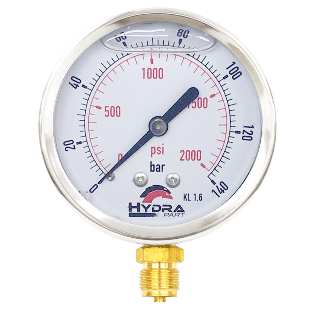 "Hydra Part 100mm Glycerine Hydraulic Pressure Gauge 0-2000 Psi (140 Bar) 1/2"" Bottom Entry - Approved Hydraulics"