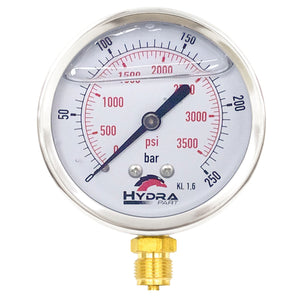 "Hydra Part 100mm Glycerine Hydraulic Pressure Gauge 0-3500 Psi (250 Bar) 1/2"" Bottom Entry - Approved Hydraulics"