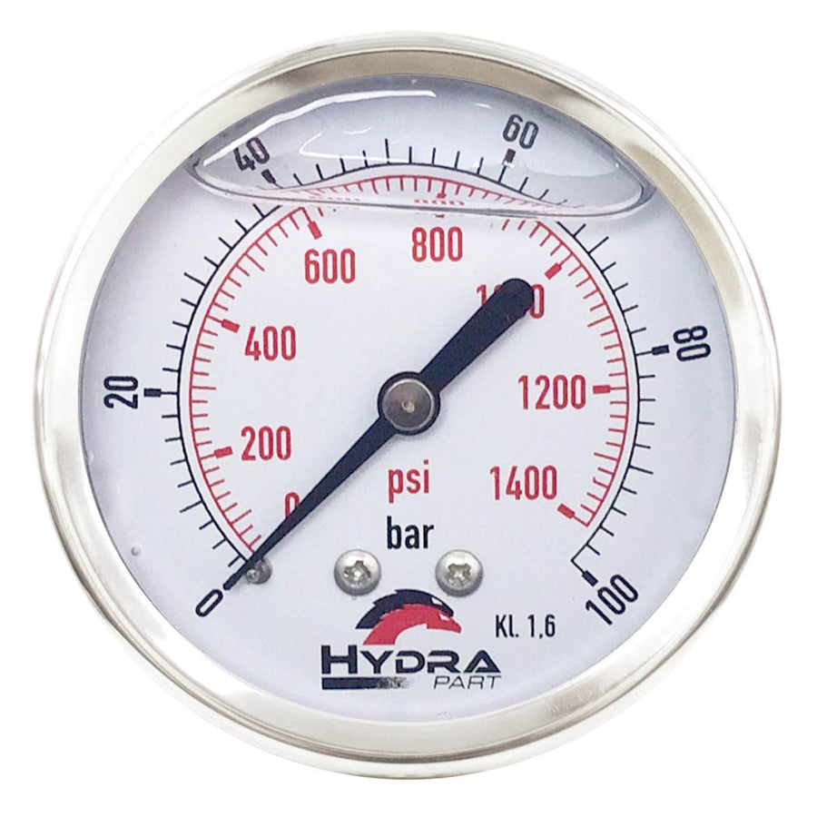 "Hydra Part 100mm Glycerine Hydraulic Pressure Gauge 0-1400 Psi (100 Bar) 1/2"" Rear Entry - Approved Hydraulics"