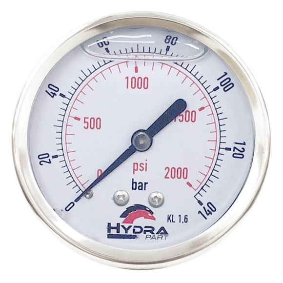 "Hydra Part 100mm Glycerine Hydraulic Pressure Gauge 0-2000 Psi (140 Bar) 1/2"" Rear Entry - Approved Hydraulics"