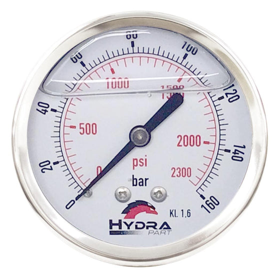"Hydra Part 100mm Glycerine Hydraulic Pressure Gauge 0-2300 Psi (160 Bar) 1/2"" Rear Entry - Approved Hydraulics"