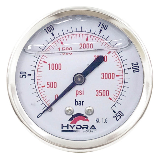 "Hydra Part 100mm Glycerine Hydraulic Pressure Gauge 0-3500 Psi (250 Bar) 1/2"" Rear Entry - Approved Hydraulics"