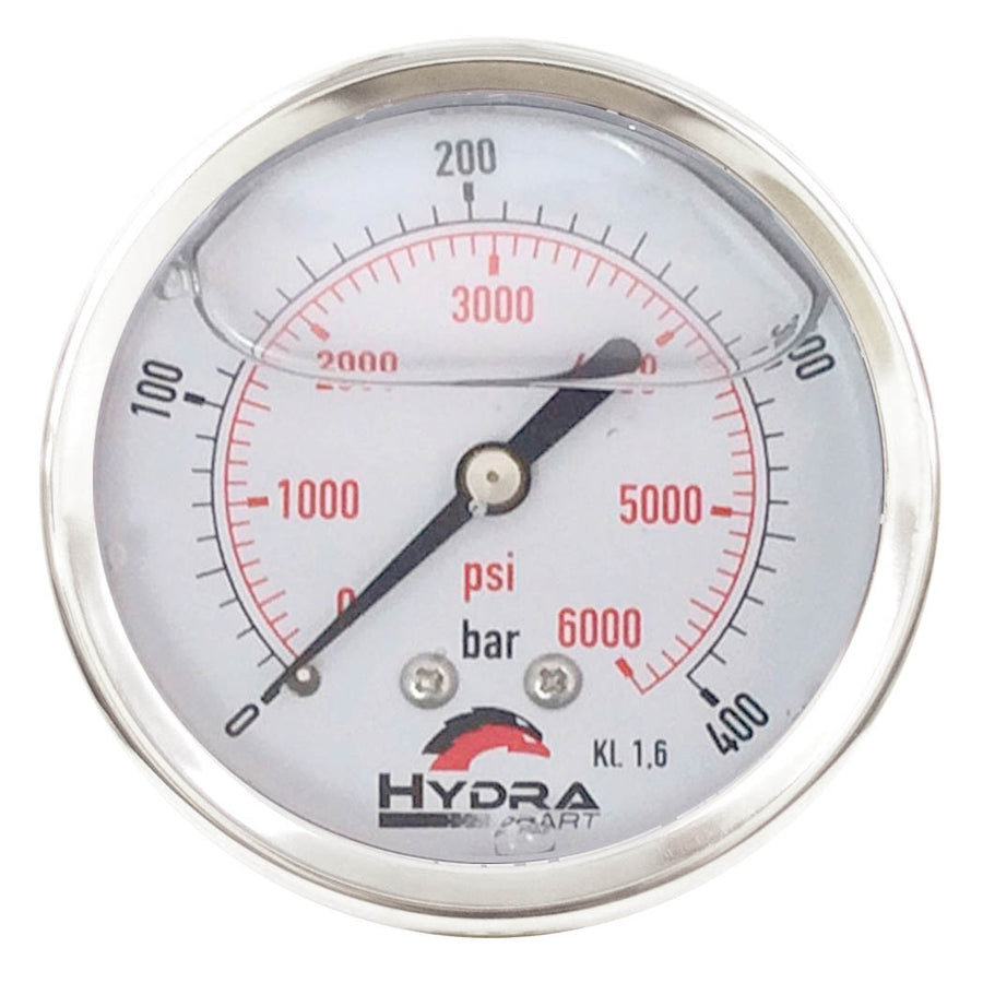 "Hydra Part 100mm Glycerine Hydraulic Pressure Gauge 0-6000 Psi (400 Bar) 1/2"" Rear Entry - Approved Hydraulics"