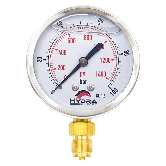 "Hydra Part 63mm Glycerine Hydraulic Pressure Gauge 0-1400 Psi (100 Bar) 1/4"" Bottom Entry - Approved Hydraulics"