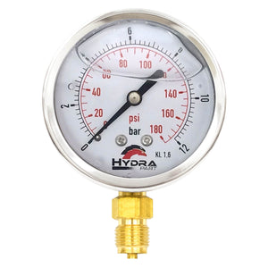 "Hydra Part 63mm Glycerine Hydraulic Pressure Gauge 0-170 Psi (12 Bar) 1/4"" Bottom Entry - Approved Hydraulics"