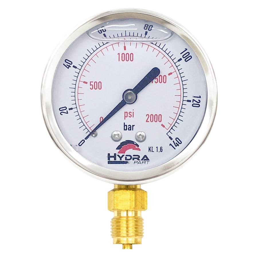"Hydra Part 63mm Glycerine Hydraulic Pressure Gauge 0-2000 Psi (140 Bar) 1/4"" Bottom Entry - Approved Hydraulics"