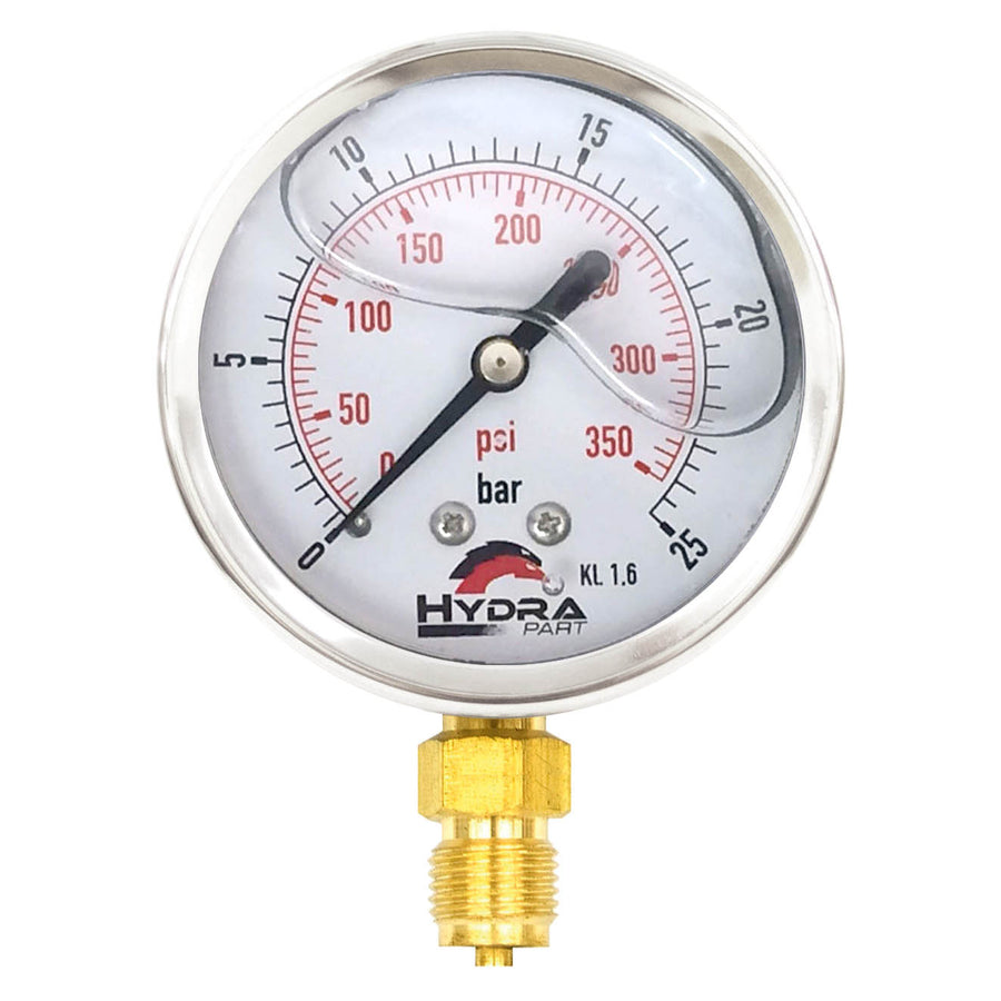 "Hydra Part 63mm Glycerine Hydraulic Pressure Gauge 0-360 Psi (25 Bar) 1/4"" Bottom Entry - Approved Hydraulics"