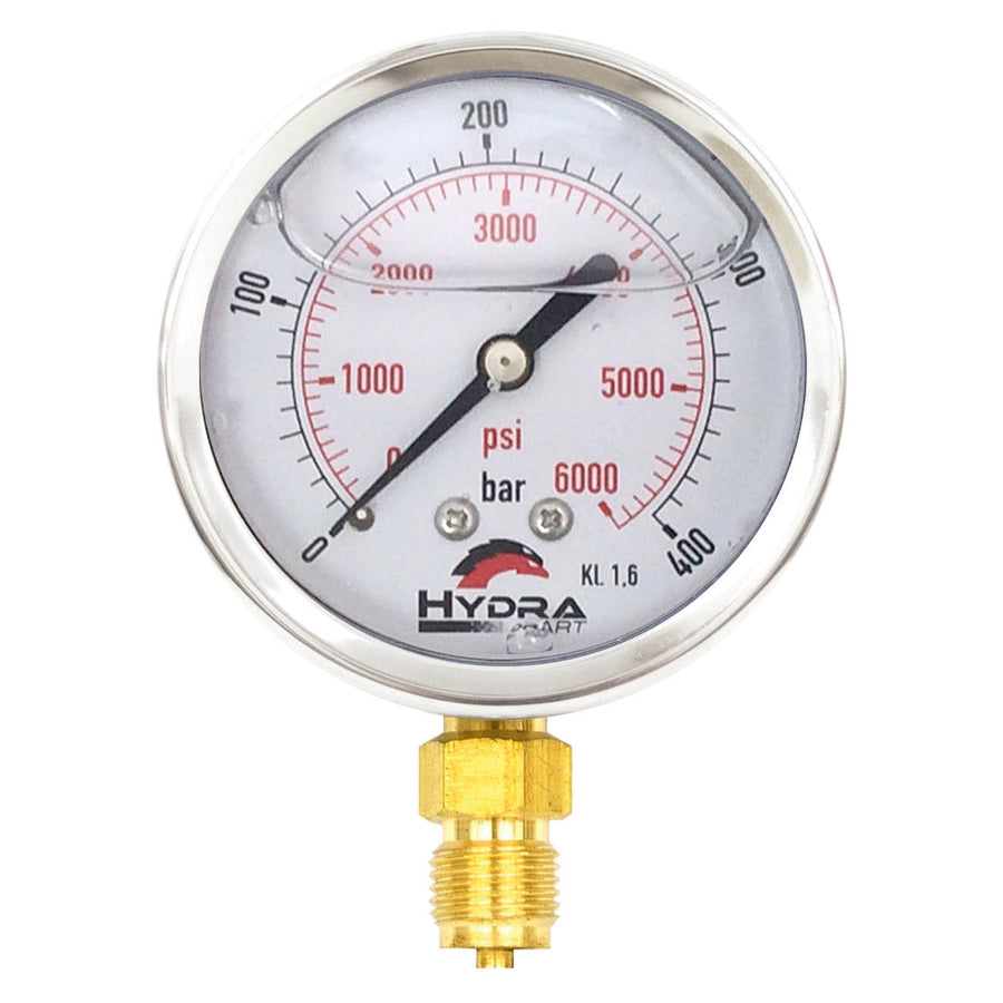 "Hydra Part 63mm Glycerine Hydraulic Pressure Gauge 0-6000 Psi (400 Bar) 1/4"" Bottom Entry - Approved Hydraulics"