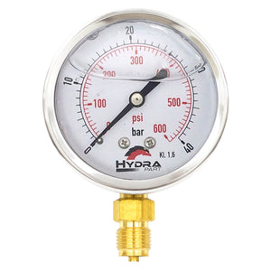 "Hydra Part 63mm Glycerine Hydraulic Pressure Gauge 0-580 Psi (40 Bar) 1/4"" Bottom Entry - Approved Hydraulics"