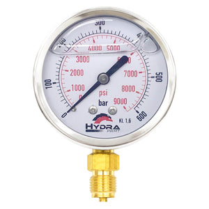 "Hydra Part 63mm Glycerine Hydraulic Pressure Gauge 0-9000 Psi (600 Bar) 1/4"" Bottom Entry - Approved Hydraulics"