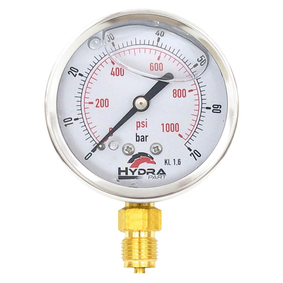 "Hydra Part 63mm Glycerine Hydraulic Pressure Gauge 0-1000 Psi (70 Bar) 1/4"" Bottom Entry - Approved Hydraulics"