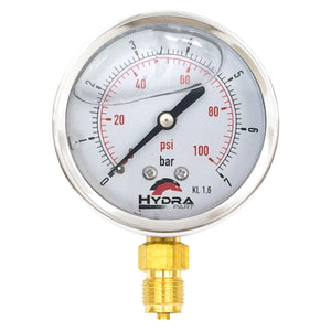 "Hydra Part 63mm Glycerine Hydraulic Pressure Gauge 0-100 Psi (7 Bar) 1/4"" Bottom Entry - Approved Hydraulics"