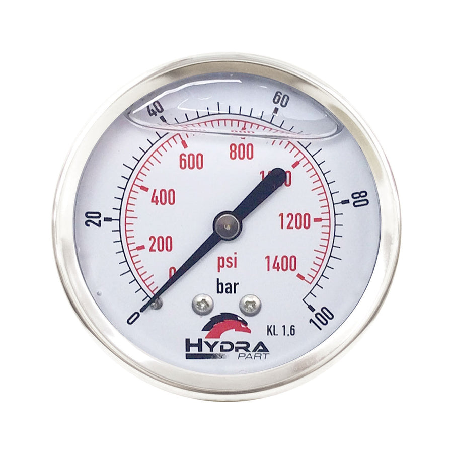 "Hydra Part 63mm Glycerine Hydraulic Pressure Gauge 0-1400 Psi (100 Bar) 1/4"" Rear Entry - Approved Hydraulics"
