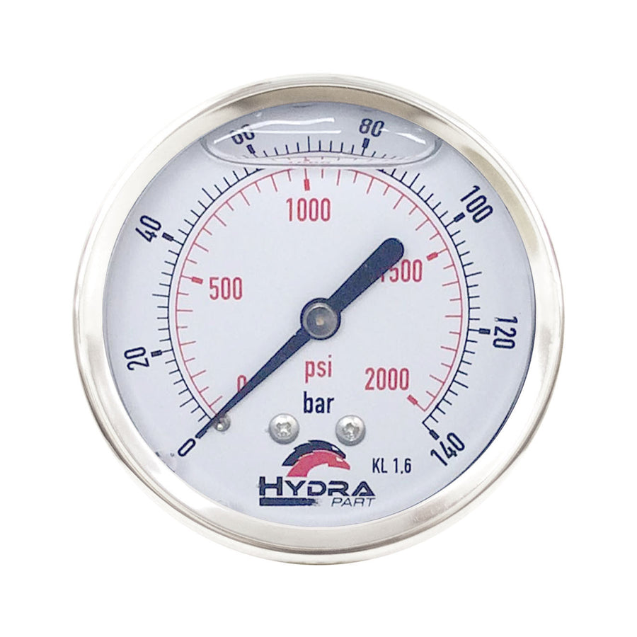 "Hydra Part 63mm Glycerine Hydraulic Pressure Gauge 0-2000 Psi (140 Bar) 1/4"" Rear Entry - Approved Hydraulics"