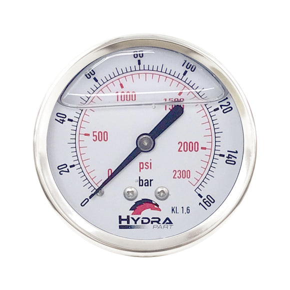 "Hydra Part 63mm Glycerine Hydraulic Pressure Gauge 0-2300 Psi (160 Bar) 1/4"" Rear Entry - Approved Hydraulics"