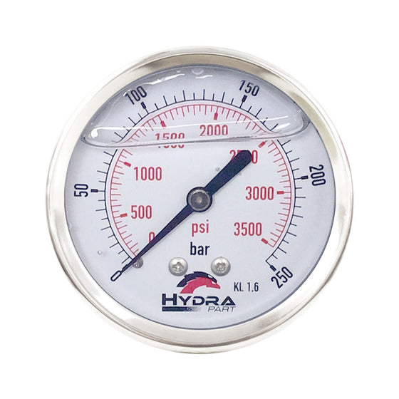 "Hydra Part 63mm Glycerine Hydraulic Pressure Gauge 0-3500 Psi (250 Bar) 1/4"" Rear Entry - Approved Hydraulics"