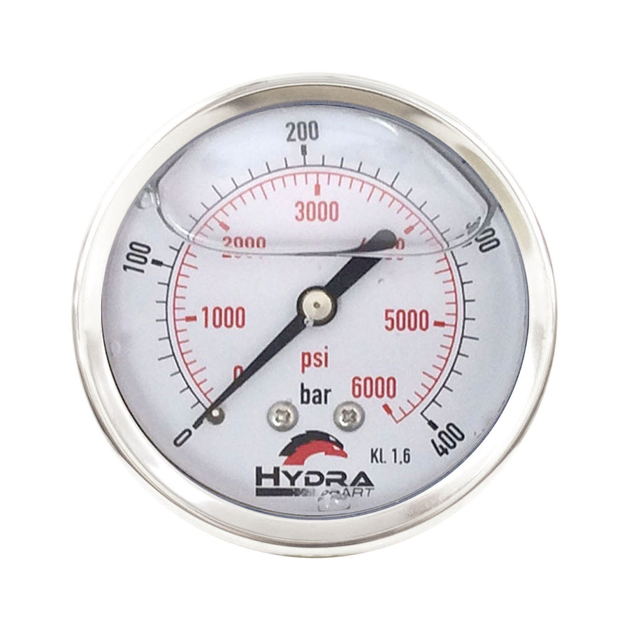 "Hydra Part 63mm Glycerine Hydraulic Pressure Gauge 0-6000 Psi (400 Bar) 1/4"" Rear Entry - Approved Hydraulics"