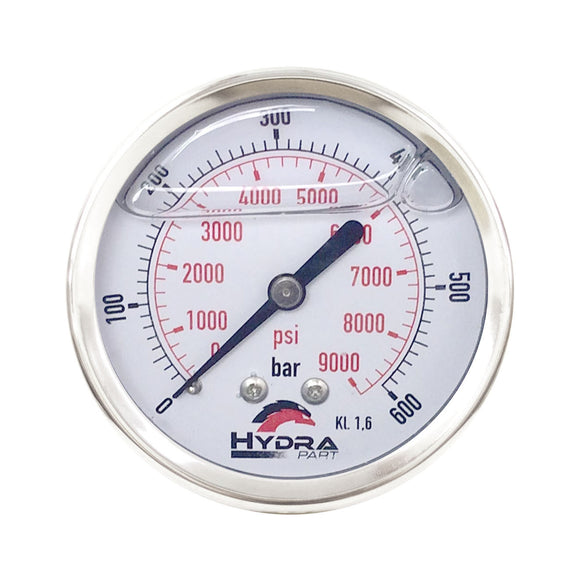 "Hydra Part 63mm Glycerine Hydraulic Pressure Gauge 0-9000 Psi (600 Bar) 1/4"" Rear Entry - Approved Hydraulics"