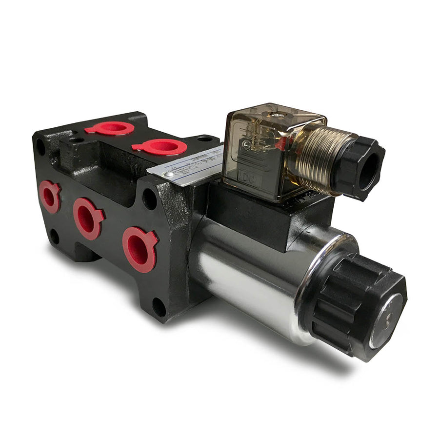 "Hydra Part 6 Port Solenoid Diverter Valve 3/8"" Open Centre 50LPM 12/24vDC - Approved Hydraulics"