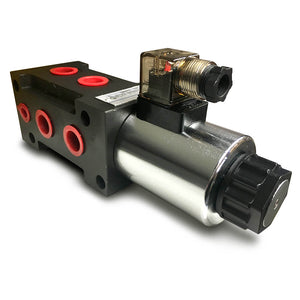 "Hydra Part 6 Port Solenoid Diverter Valve 1/2"" Open Centre 80LPM 12/24Vdc - Approved Hydraulics"