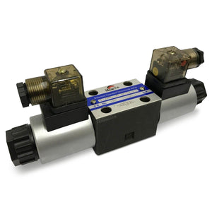 Hydra Part CETOP 3 Double Solenoid Control Valve NG06, All Ports Open - Approved Hydraulics