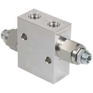 "Hydra Part 3/8""BSP Dual Cross-over 35Lpm Relief Valve - 100-350Bar - Approved Hydraulics"