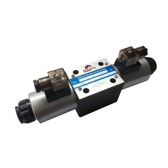 Hydra Part CETOP 5 double solenoid control valve NG10 All ports open - Approved Hydraulics