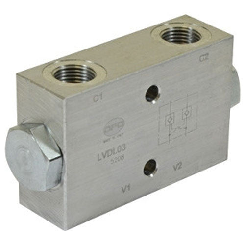 "Hydra Part Dual Pilot Operated Check Valve 1/4""BSP In Line - 20Lpm - Approved Hydraulics"