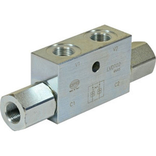 "Hydra Part Top Link Double Pilot Check Valve 1/2""BSP  50Lpm - Approved Hydraulics"