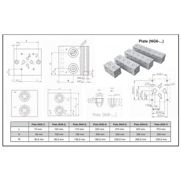 "Hydra Part Cetop 3 -  3 station manifold - P & T 1/2"" - A & B 3/8"" - Approved Hydraulics"