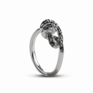 ANELLO NODI D'AMORE IN ARGENTO 925 E DIAMANTI BLACK AN26ABN